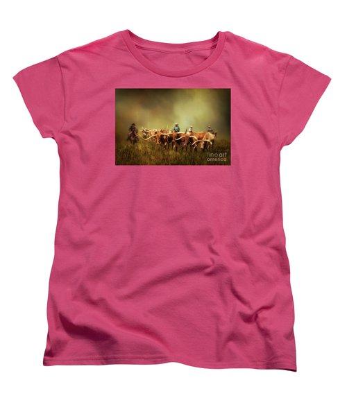 Driving The Herd Women's T-Shirt (Standard Cut) by Priscilla Burgers