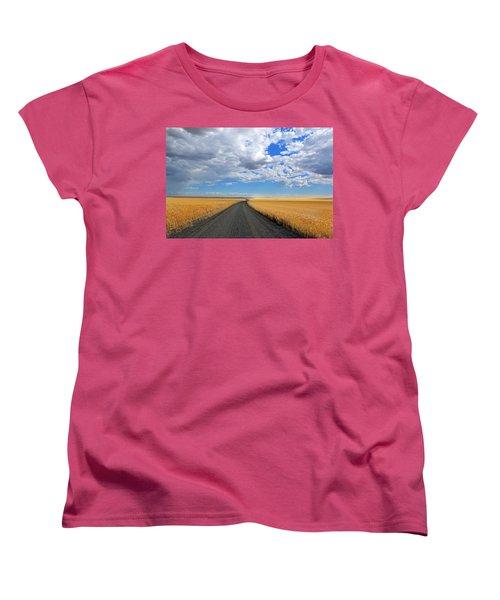 Driving Through The Wheat Fields Women's T-Shirt (Standard Cut) by Lynn Hopwood