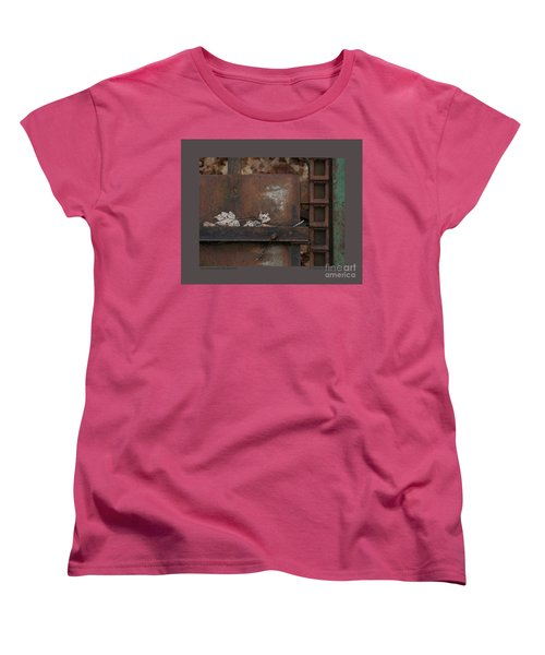 Women's T-Shirt (Standard Cut) featuring the photograph Dry Leaves And Old Steel-iv by Patricia Overmoyer