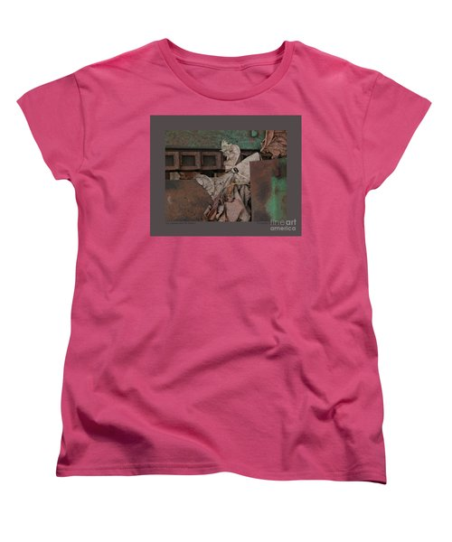 Women's T-Shirt (Standard Cut) featuring the photograph Dry Leaves And Old Steel-v by Patricia Overmoyer