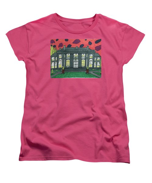 Women's T-Shirt (Standard Cut) featuring the painting Dupont Family Mansion. by Jonathon Hansen