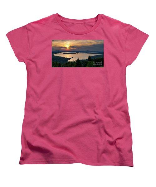 Women's T-Shirt (Standard Cut) featuring the photograph Dusk, Mooselookmeguntic Lake, Rangeley, Maine -63362-63364 by John Bald