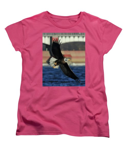 Women's T-Shirt (Standard Cut) featuring the photograph Eagle Flying by Coby Cooper