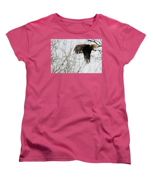 Women's T-Shirt (Standard Cut) featuring the photograph Eagle In Flight by Michael Peychich