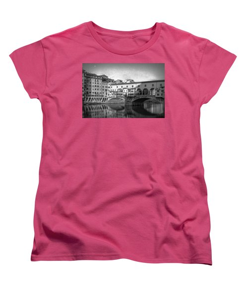 Women's T-Shirt (Standard Cut) featuring the photograph Early Morning Ponte Vecchio Florence Italy by Joan Carroll