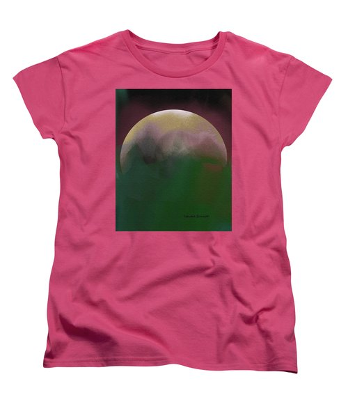 Earth And Moon Women's T-Shirt (Standard Cut) by Lenore Senior
