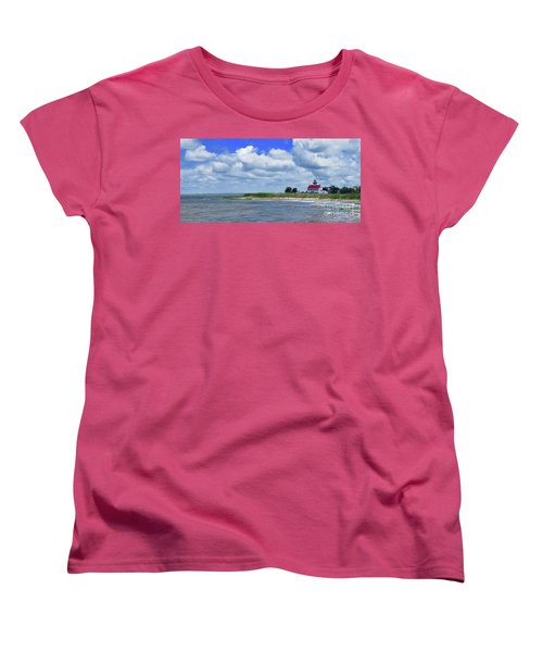 East Point Lighthouse At High Tide Women's T-Shirt (Standard Cut) by Nancy Patterson
