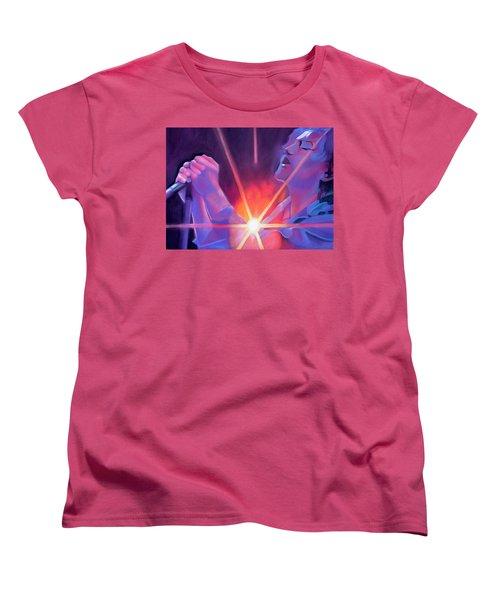 Eddie Vedder And Lights Women's T-Shirt (Standard Cut) by Joshua Morton