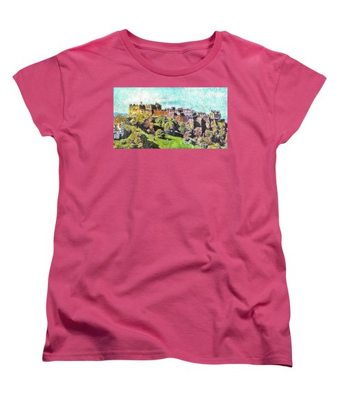 Edinburgh Castle Skyline No 2 Women's T-Shirt (Standard Cut) by Richard James Digance