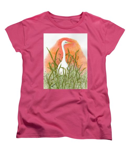 Women's T-Shirt (Standard Cut) featuring the painting Egret Color In Sunset by Peggy A Borel
