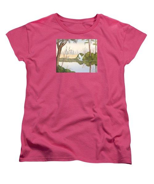 Egret In Flight 1 Women's T-Shirt (Standard Cut) by Denise Fulmer