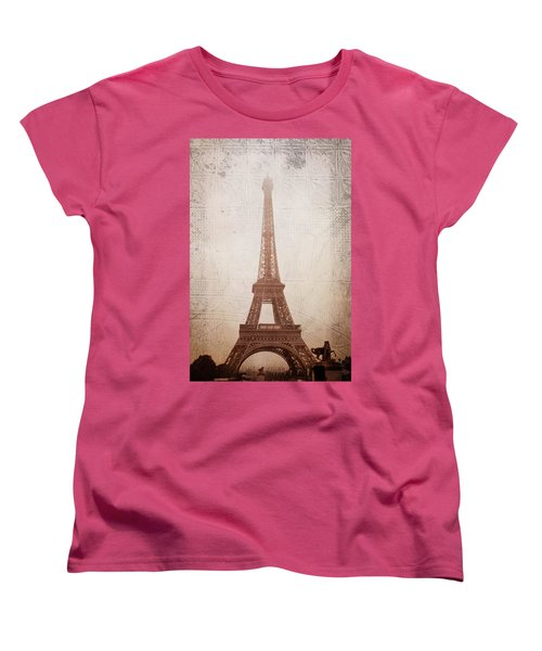Women's T-Shirt (Standard Cut) featuring the digital art Eiffel Tower In The Mist by Christina Lihani