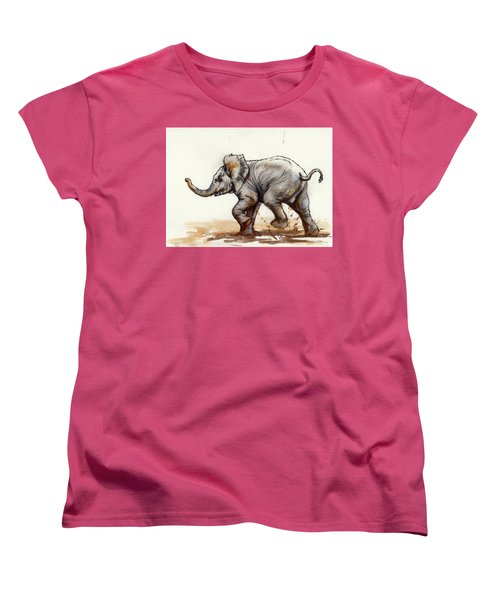 Women's T-Shirt (Standard Cut) featuring the painting Elephant Baby At Play by Margaret Stockdale