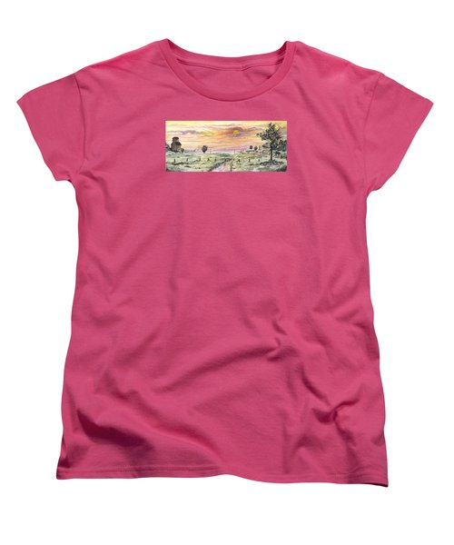 Women's T-Shirt (Standard Cut) featuring the digital art Elevator In The Sunset by Darren Cannell