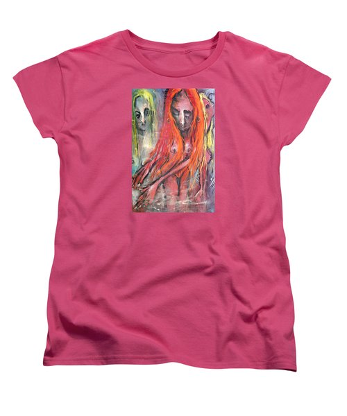 Women's T-Shirt (Standard Cut) featuring the painting Emerging Reminders In Swamp Vapor by Kenneth Agnello