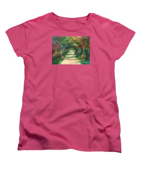 Women's T-Shirt (Standard Cut) featuring the painting Enchanted Forest by Denise Tomasura