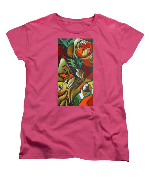 Women's T-Shirt (Standard Cut) featuring the painting Enjoying Food And Drink by Leon Zernitsky