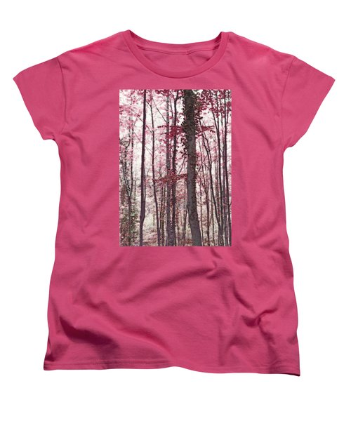 Ethereal Austrian Forest In Marsala Burgundy Wine Women's T-Shirt (Standard Cut) by Brooke T Ryan