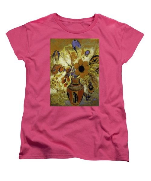 Women's T-Shirt (Standard Cut) featuring the painting Etrusian Vase With Flowers by Odilon Redon