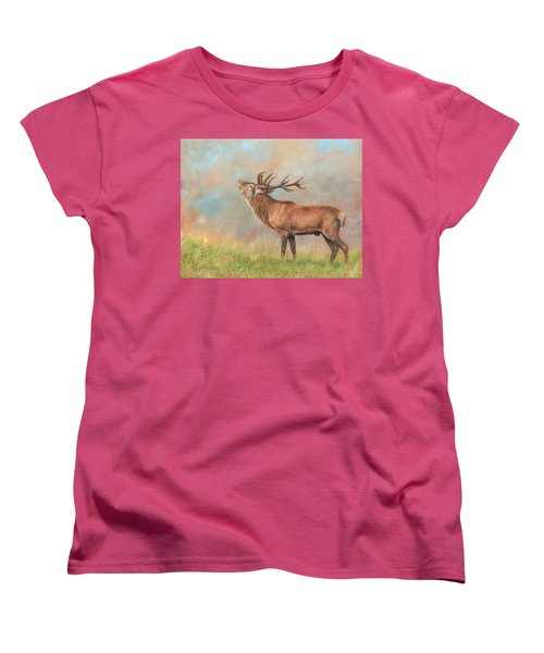 Women's T-Shirt (Standard Cut) featuring the painting European Red Deer by David Stribbling