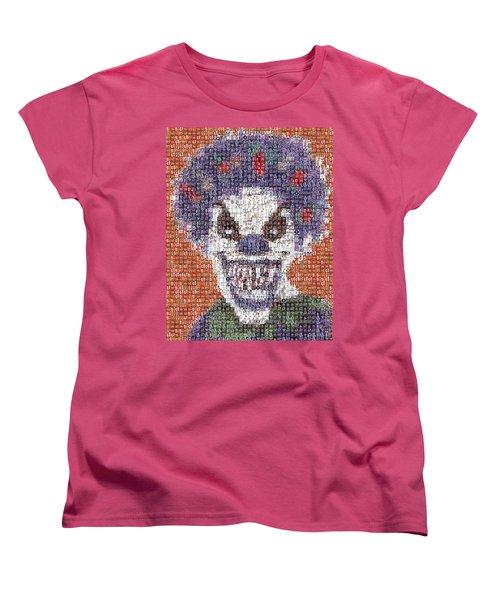 Women's T-Shirt (Standard Cut) featuring the mixed media Evil Clown Mosaic by Paul Van Scott