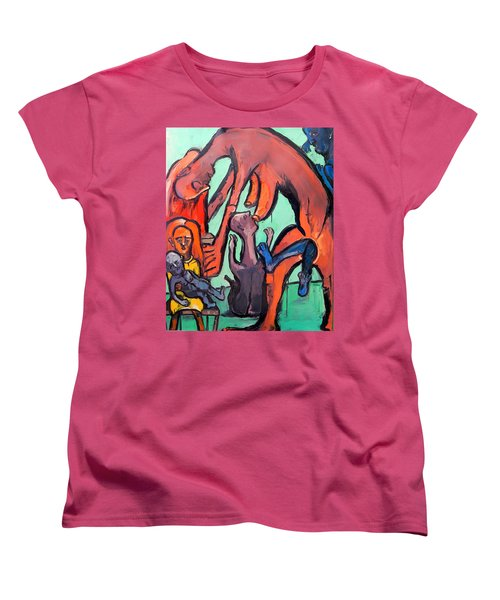Women's T-Shirt (Standard Cut) featuring the painting Evolution Stuck - Fertility by Kenneth Agnello