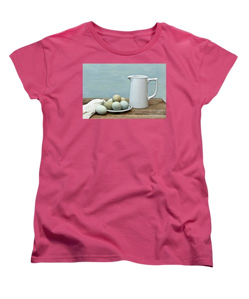 Exotic Colored Eggs With Pitcher Women's T-Shirt (Standard Cut) by Pattie Calfy