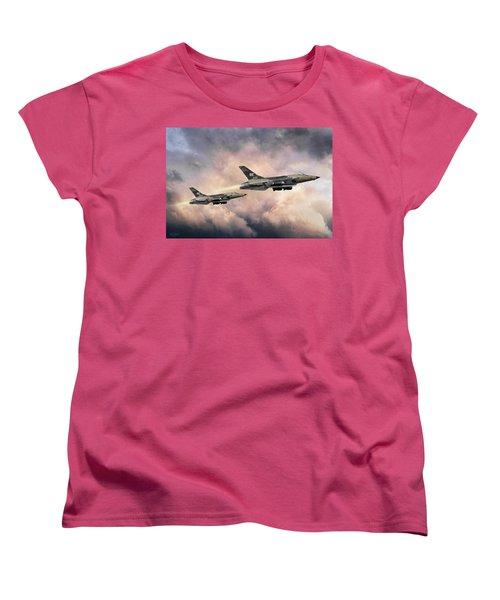Women's T-Shirt (Standard Cut) featuring the digital art F-105 Thunderchief by Peter Chilelli