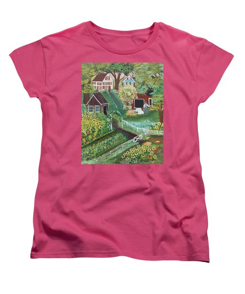 Women's T-Shirt (Standard Cut) featuring the painting Fairview Farm by Virginia Coyle
