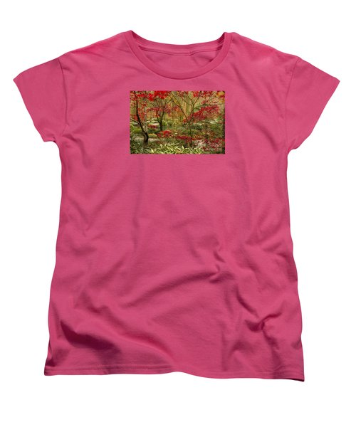 Fall Color In The Japanese Gardens Women's T-Shirt (Standard Cut) by Barbara Bowen