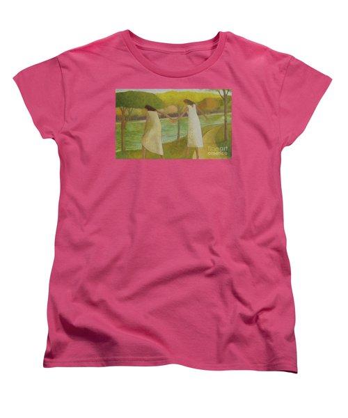 Women's T-Shirt (Standard Cut) featuring the painting Fall River by Glenn Quist