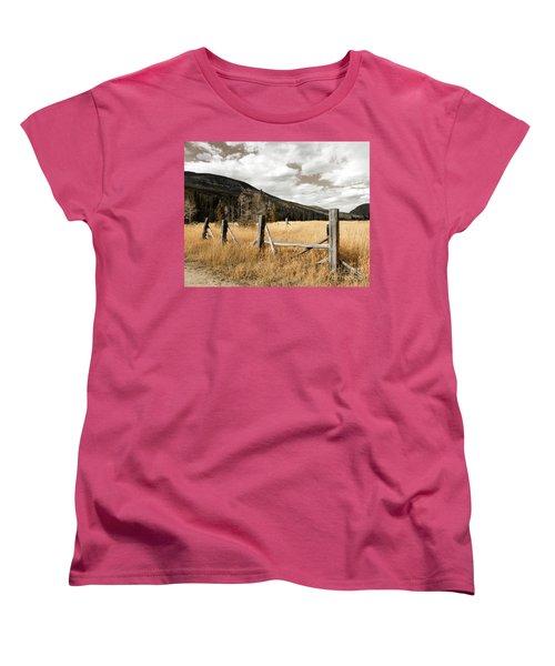 Fallowfield Weathered Fence Rocky Mountain National Park Dramatic Sky Women's T-Shirt (Standard Cut) by John Stephens