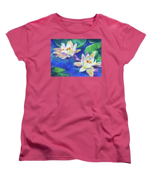 Women's T-Shirt (Standard Cut) featuring the painting Fancy Waterlilies by Kathy Braud