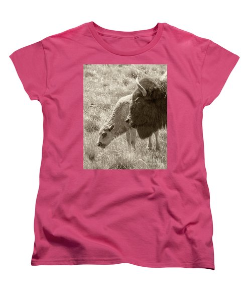 Women's T-Shirt (Standard Cut) featuring the photograph Father And Baby Buffalo by Rebecca Margraf