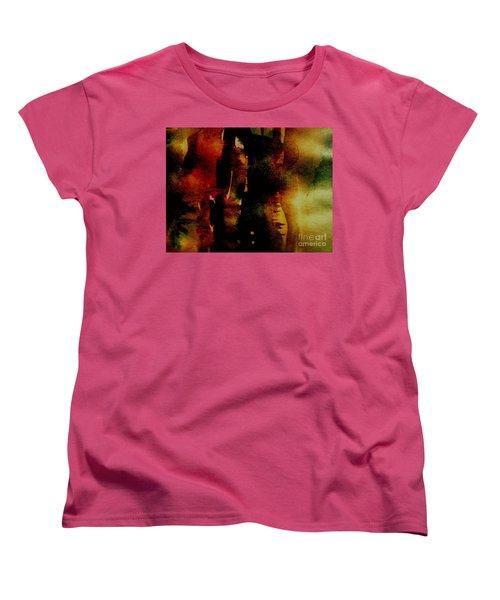 Women's T-Shirt (Standard Cut) featuring the painting Fear On The Dark by Rushan Ruzaick