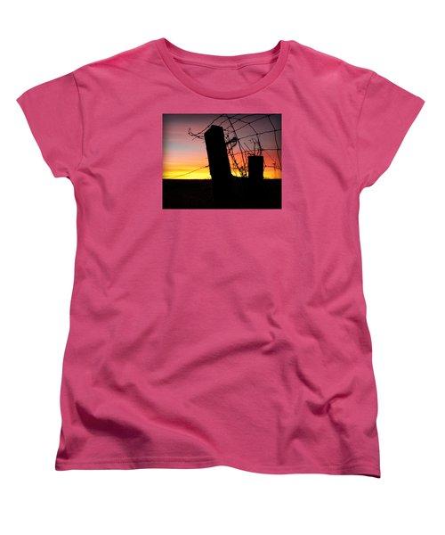 Fence Sunrise Women's T-Shirt (Standard Cut) by Kathy M Krause