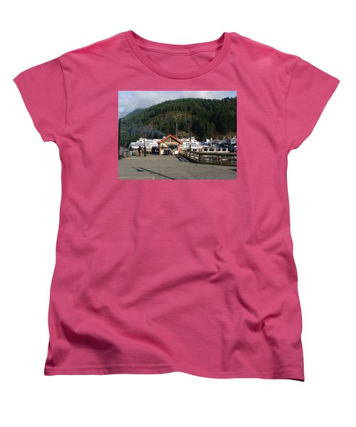 Women's T-Shirt (Standard Cut) featuring the painting Ferry Landed At Horseshoe Bay by Rod Jellison