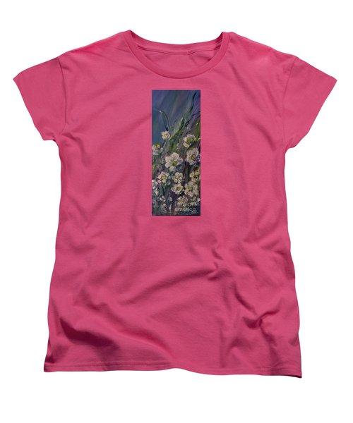Fields Of White Flowers Women's T-Shirt (Standard Cut) by AmaS Art