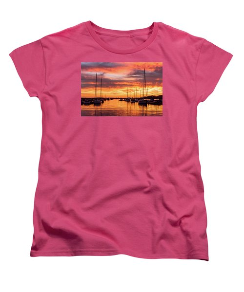 Fiery Lake Norman Sunset Women's T-Shirt (Standard Cut) by Serge Skiba