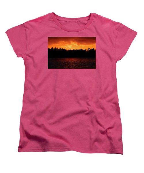 Fire In The Sky Women's T-Shirt (Standard Cut) by Teemu Tretjakov