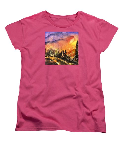 Fires In Our Mountains Tonight Women's T-Shirt (Standard Cut) by Randy Sprout