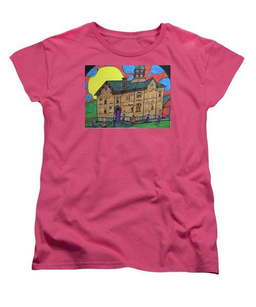 Women's T-Shirt (Standard Cut) featuring the drawing First Menominee High School. by Jonathon Hansen