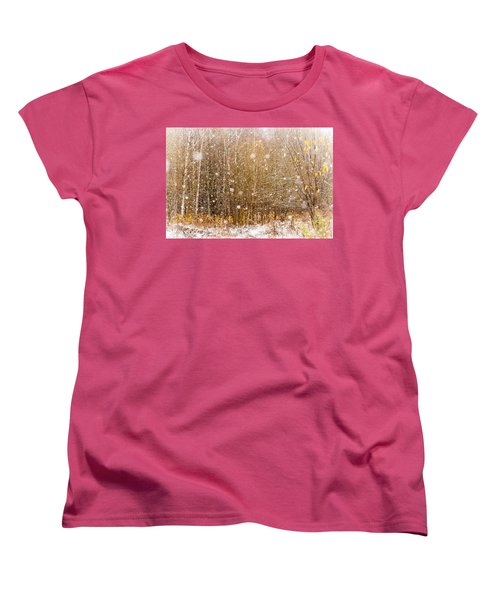 First Snow. Snow Flakes I Women's T-Shirt (Standard Cut) by Jenny Rainbow