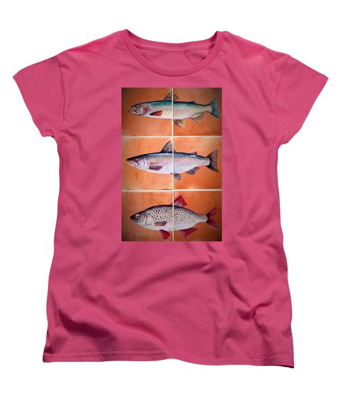 Women's T-Shirt (Standard Cut) featuring the ceramic art Fish Mural by Andrew Drozdowicz
