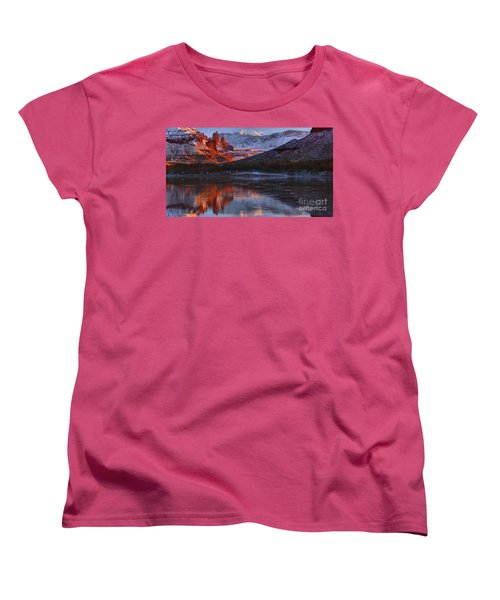 Women's T-Shirt (Standard Cut) featuring the photograph Fisher Towers Sunset Reflection Panorama by Adam Jewell