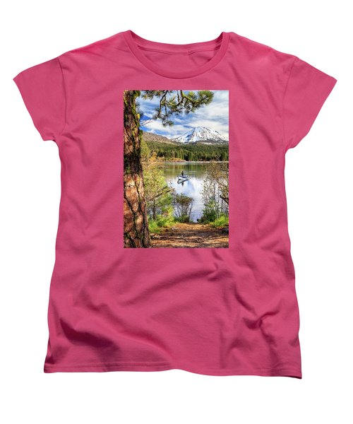 Women's T-Shirt (Standard Cut) featuring the photograph Fishing In Manzanita Lake by James Eddy