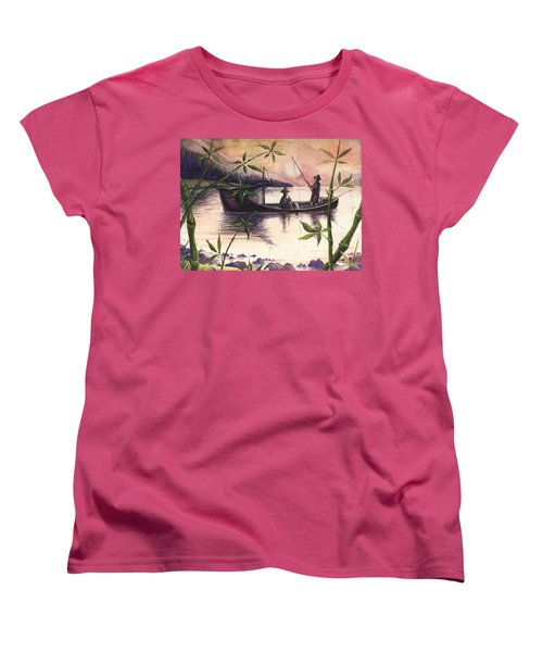 Fishing In The Sunset   Women's T-Shirt (Standard Cut) by Alban Dizdari