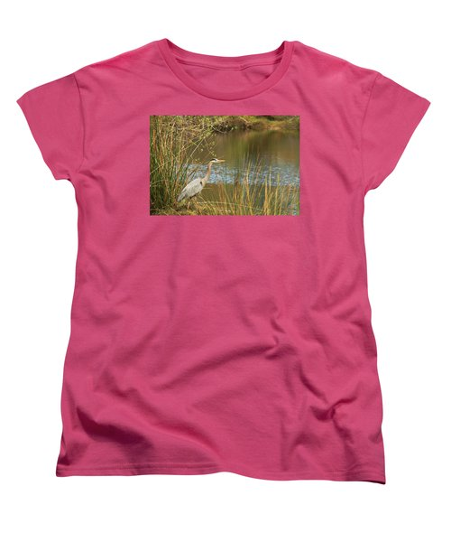 Women's T-Shirt (Standard Cut) featuring the photograph Fishing Oceano Lagoon by Art Block Collections