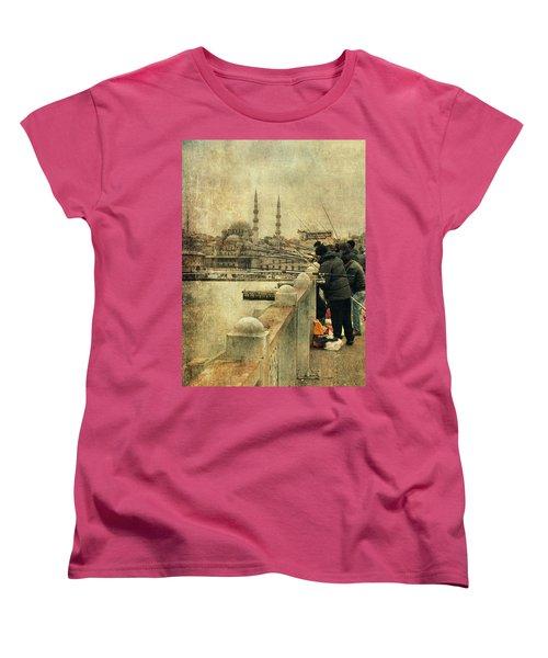 Fishing On The Bosphorus Women's T-Shirt (Standard Cut) by Vittorio Chiampan
