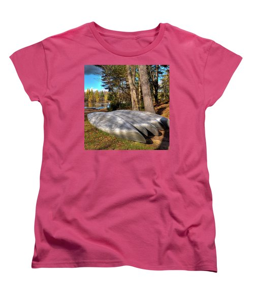 Women's T-Shirt (Standard Cut) featuring the photograph Five Canoes At Woodcraft Camp by David Patterson